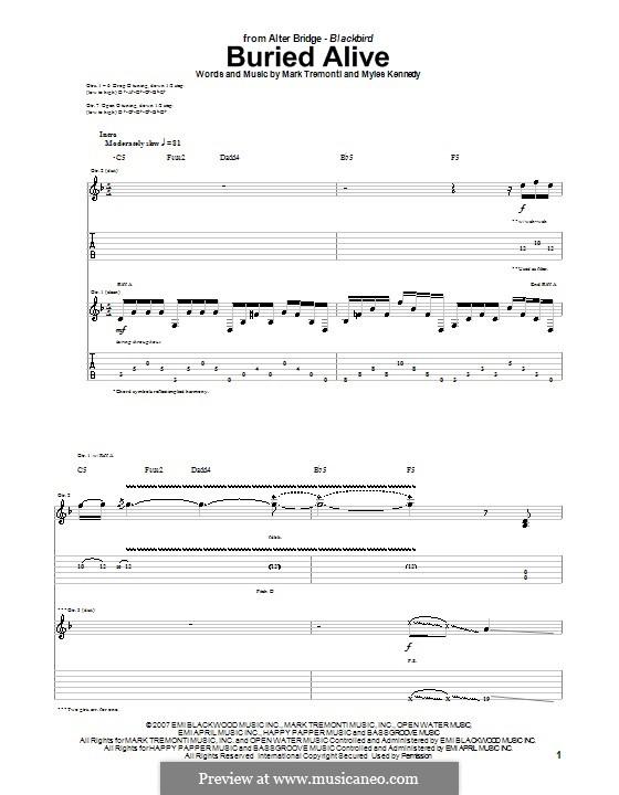 Buried Alive (Alter Bridge): Für Gitarre mit Tabulatur by Mark Tremonti, Myles Kennedy
