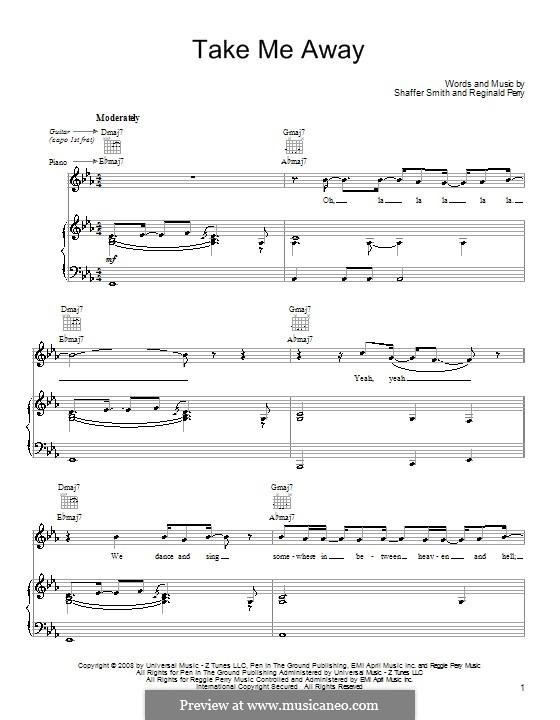 Take Me Away (John Legend): Für Stimme und Klavier (oder Gitarre) by Reginald Perry, Ne-Yo