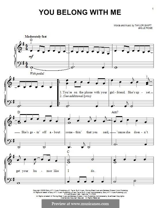 You Belong with Me (Taylor Swift): Für Klavier, leicht by Liz Rose