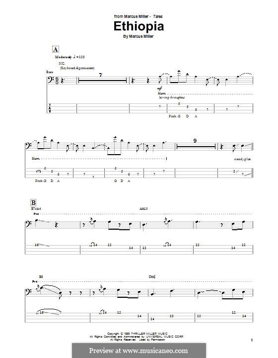 Ethiopia: Für Bassgitarre mit Tabulatur by Marcus Miller