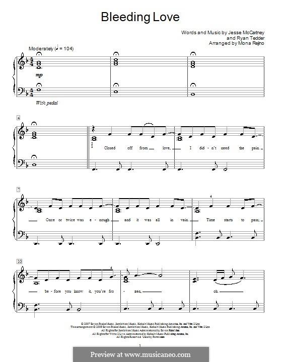 Bleeding Love (Leona Lewis): Für Klavier, leicht by Jesse McCartney, Ryan B Tedder