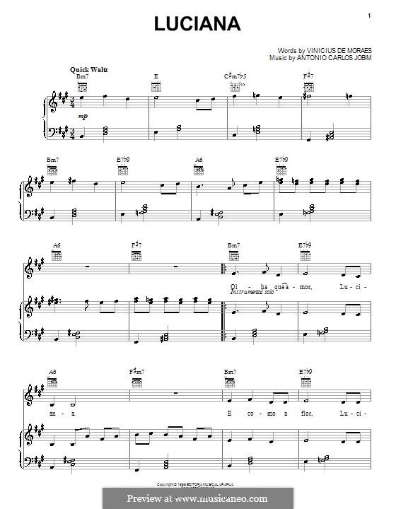 Luciana: Für Stimme und Klavier (oder Gitarre) by Antonio Carlos Jobim