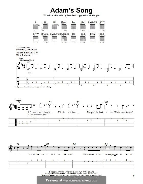 Adam's Song (Blink-182): Für Gitarre (Sehr leichte Fassung) by Mark Hoppus, Tom DeLonge