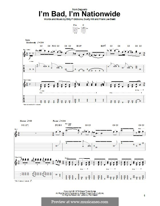I'm Bad, I'm Nationwide (ZZ Top): Für Gitarre by Billy F Gibbons, Dusty Hill, Frank Lee Beard
