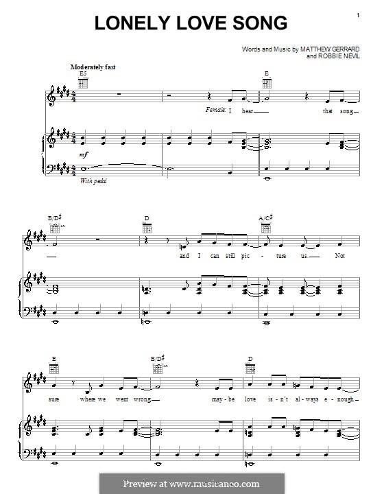 Lonely Love Song (Spectacular! (Movie)): Für Stimme und Klavier (oder Gitarre) by Matthew Gerrard, Robbie Nevil