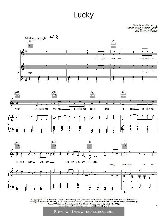 Lucky: Für Stimme und Klavier (oder Gitarre) by Colbie Caillat, Jason Mraz, Timothy Fagan
