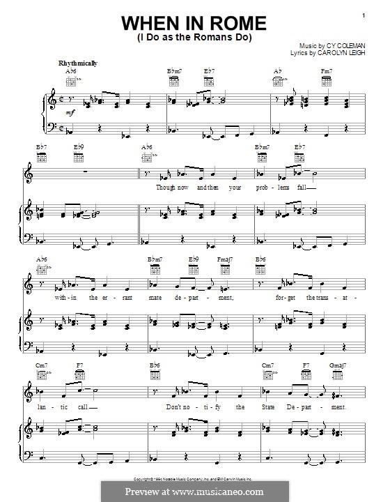 When in Rome (I Do as the Romans Do): Für Stimme und Klavier (oder Gitarre) by Cy Coleman