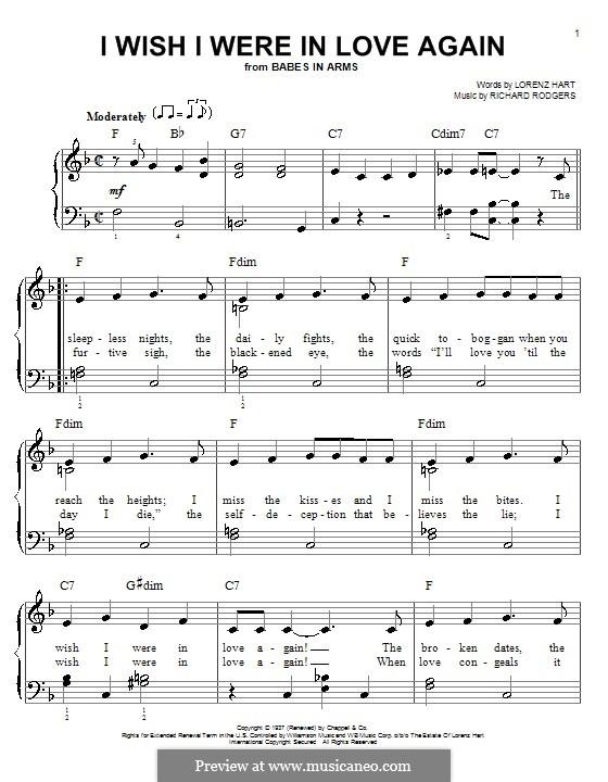 I Wish I Were in Love Again: Für Klavier, leicht by Richard Rodgers