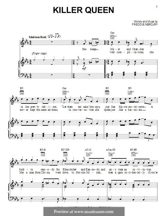 Killer Queen (Queen): Für Stimme und Klavier (oder Gitarre) by Freddie Mercury