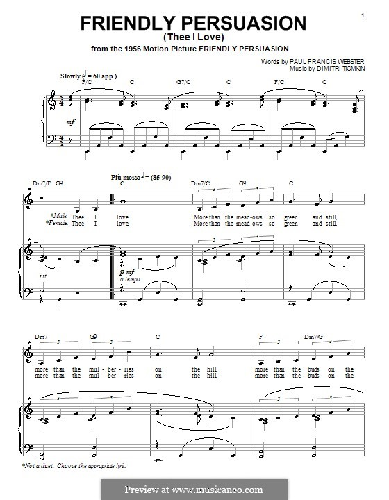 Friendly Persuasion (Pat Boone): Für Stimme und Klavier (oder Gitarre) by Dimitri Tiomkin, Paul Francis Webster