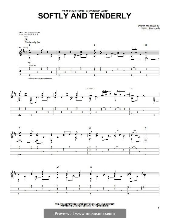 Softly and Tenderly: Für Gitarre mit Tab by Will Lamartine Thompson