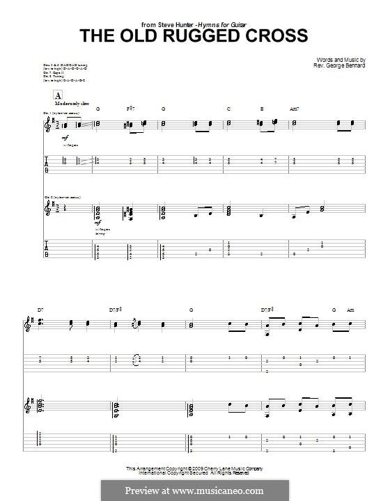 The Old Rugged Cross: Für Gitarre by George Bennard