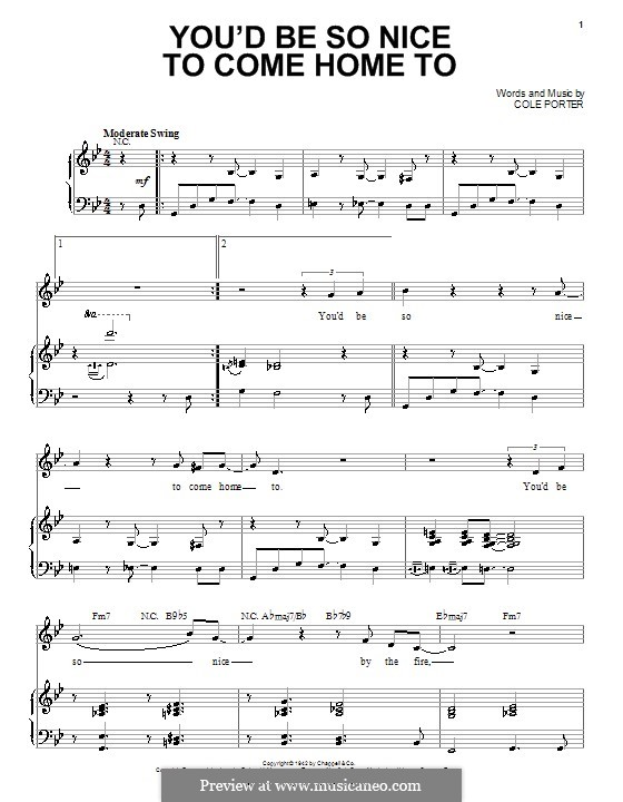 You'd Be So Nice to Come Home to: Für Stimme mit Klavier oder Gitarre (G Minor) by Cole Porter