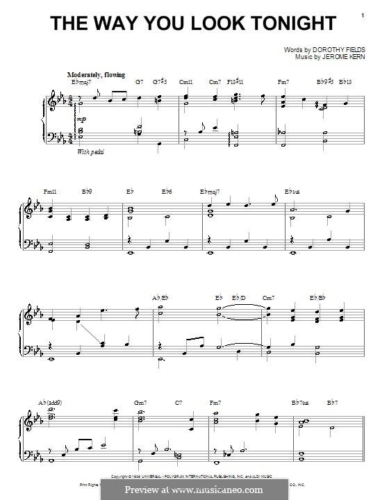 The Way You Look Tonight: Für Stimme und Klavier oder Gitarre (Steve Tyrell) by Jerome Kern