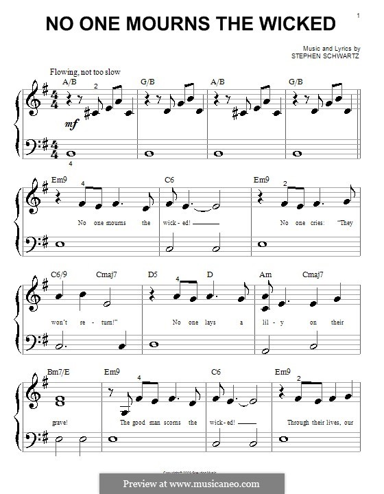 No One Mourns the Wicked: Für Klavier (sehr leichte Fassung) by Stephen Schwartz