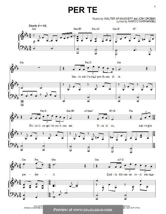 Per Te: Für Stimme und Klavier (oder Gitarre) by Marco Marinangeli, Walter Afanasieff