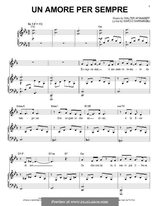 Un Amore Per Sempre (Josh Groban): Für Stimme und Klavier (oder Gitarre) by Marco Marinangeli, Walter Afanasieff