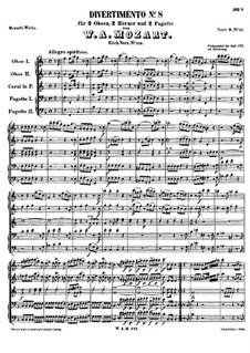 Divertissement in F-Dur, K.213: Partitur by Wolfgang Amadeus Mozart