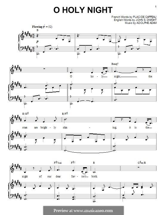 O Holy Night (Printable Scores): Für Stimme und Klavier (oder Gitarre) by Adolphe Adam