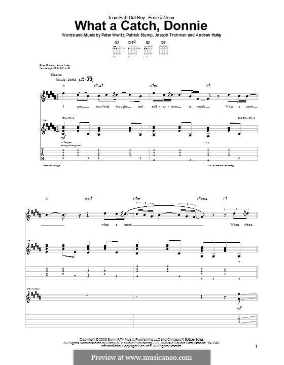 What a Catch, Donnie (Fall Out Boy): Für Gitarre mit Tabulatur by Andrew Hurley, Joseph Trohman, Patrick Stump, Peter Wentz