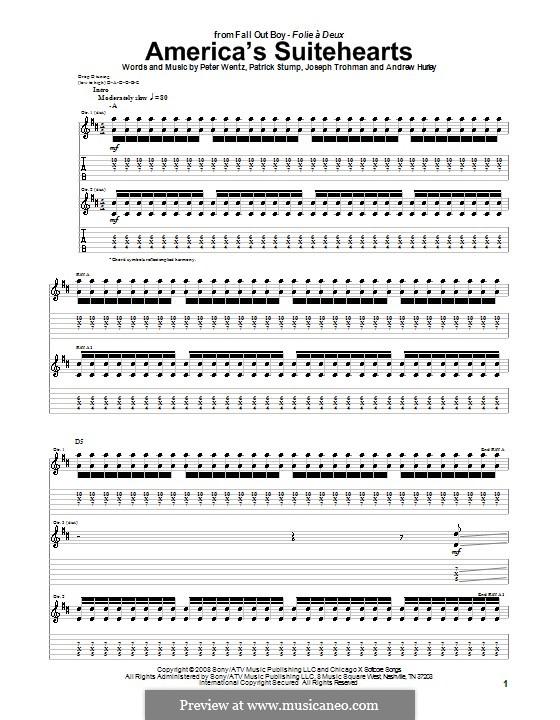 America's Suitehearts (Fall Out Boy): Für Gitarre mit Tabulatur by Andrew Hurley, Joseph Trohman, Patrick Stump, Peter Wentz