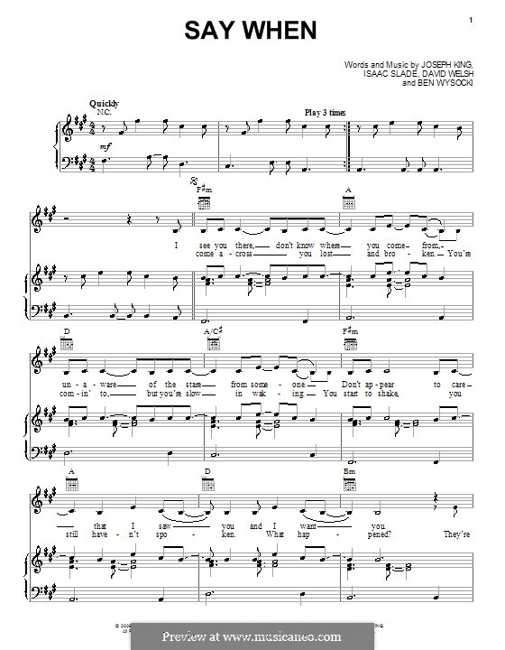 Say When (The Fray): Für Stimme und Klavier (oder Gitarre) by Ben Wysocki, David Welsh, Isaac Slade, Joseph King