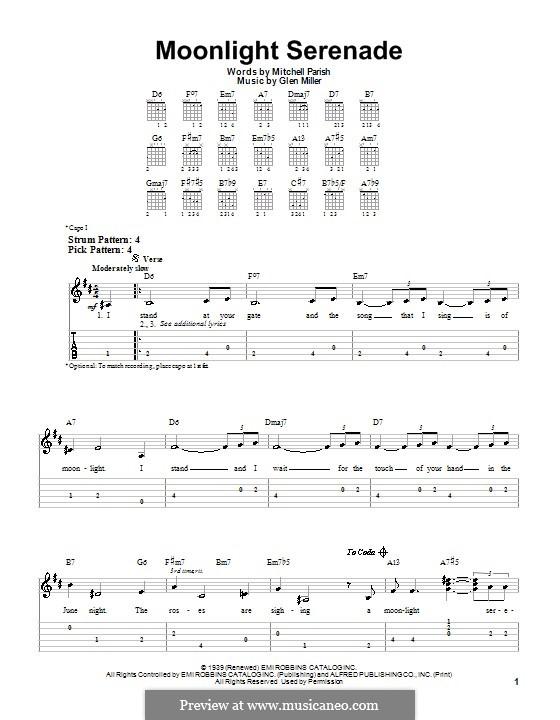 Moonlight Serenade: Für Gitarre (Sehr leichte Fassung) by Glenn Miller
