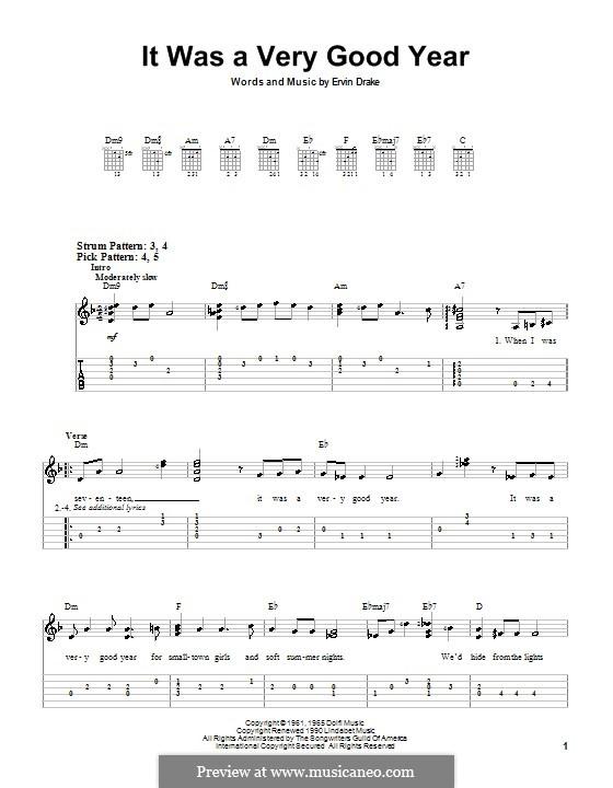 It Was a Very Good Year (Frank Sinatra): Für Gitarre (Sehr leichte Fassung) by Ervin Drake
