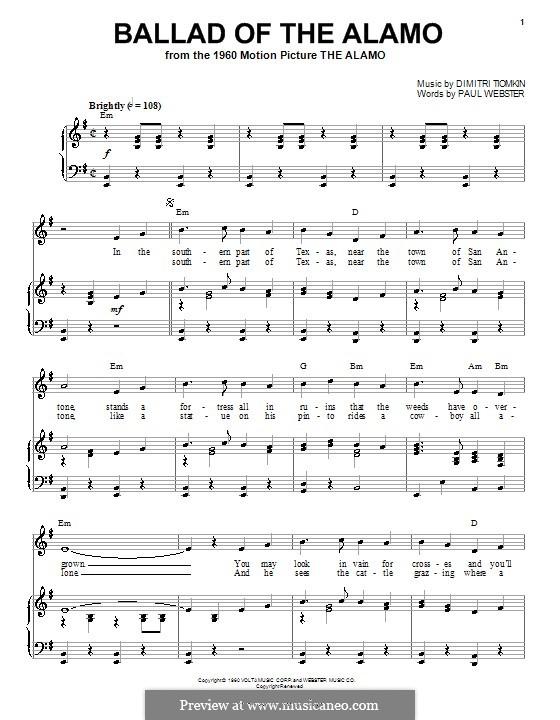 Ballad of the Alamo: Für Stimme und Klavier (oder Gitarre) by Paul Francis Webster
