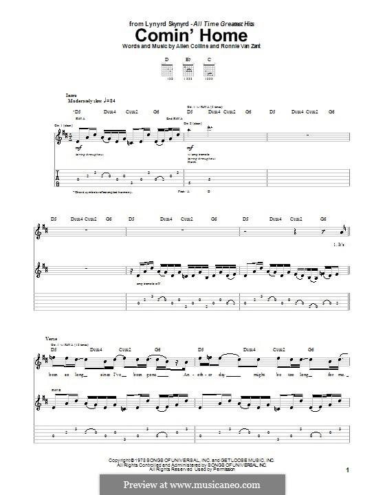 Comin' Home (Lynyrd Skynyrd): Für Gitarre mit Tabulatur by Allen Collins, Ronnie Van Zant