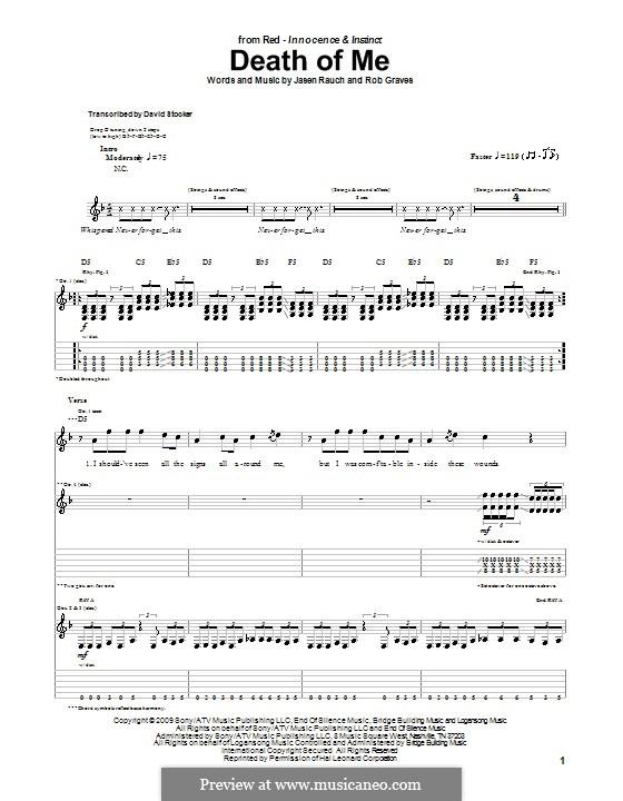 Death of Me (RED): Für Gitarre mit Tabulatur by Jasen Rauch, Rob Graves