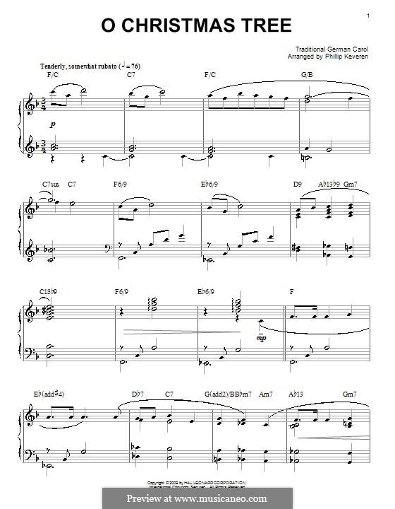O Tannenbaum, für Klavier: Mit Akkorde by folklore