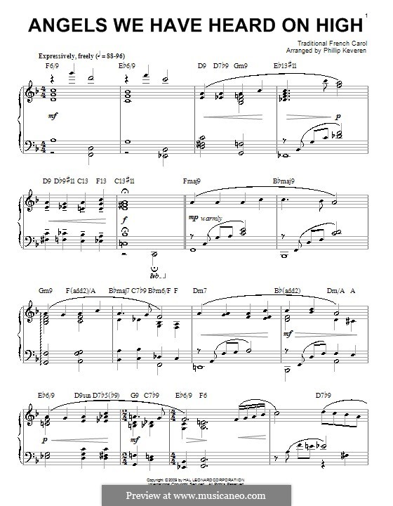 Angels We Have Heard on High, for Piano: For a single performer. Version by Keveren by folklore