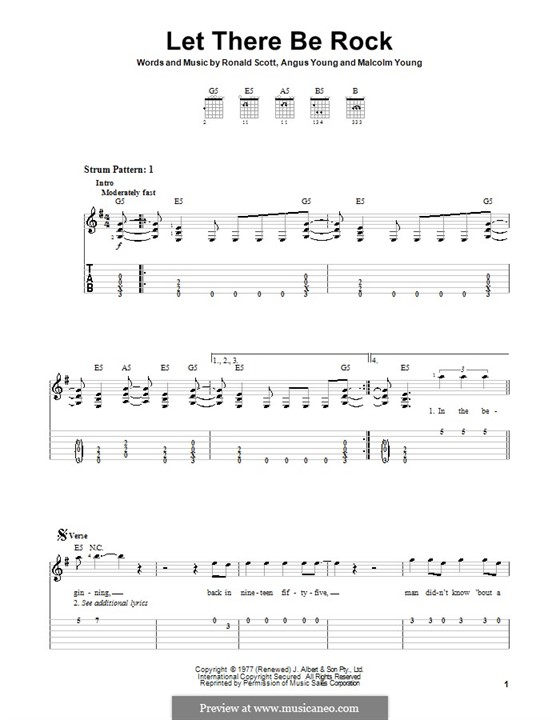 Let There Be Rock (AC/DC): Für Gitarre (Sehr leichte Fassung) by Angus Young, Bon Scott, Malcolm Young