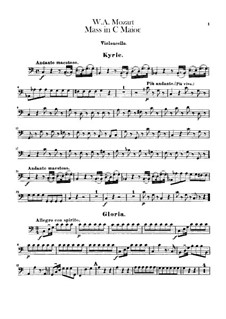 Krönungsmesse Nr.15 in C-Dur, K.317: Cellostimme by Wolfgang Amadeus Mozart