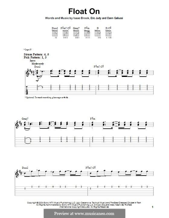 Float on (Modest Mouse): Für Gitarre (Sehr leichte Fassung) by Dann Gallucci, Eric Judy, Isaac Brock