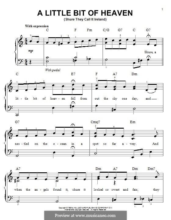 A Little Bit of Heaven: Für Klavier, leicht by Ernest R. Ball