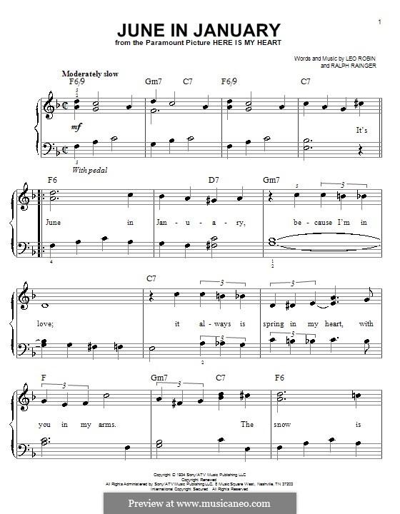 June in January: Einfache Noten für Klavier by Leo Robin, Ralph Rainger