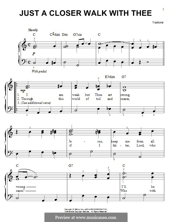 Just a closer walk with thee: Für Klavier (leicht, mit Text) by folklore