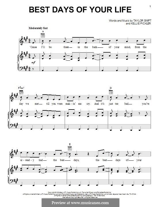 Best Days of Your Life: Für Stimme und Klavier (oder Gitarre) by Kellie Pickler