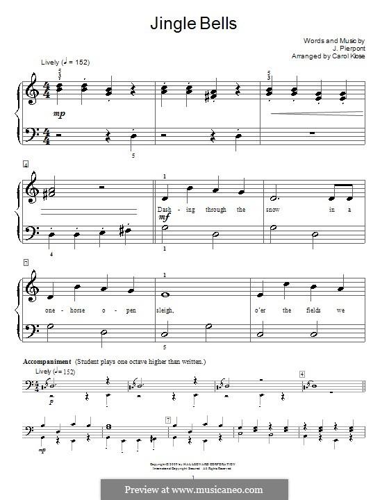 Jingle Bells, for Piano: Version für leichtes Klavier (with lyrics) by James Lord Pierpont