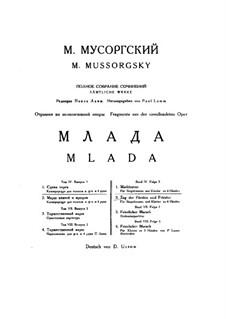 Mlada: Marktszene, Zug der Fürsten und Priester für Chor und Klavier, vierhändig by Modest Mussorgski