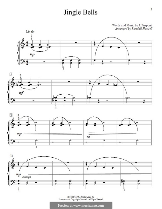 Jingle Bells, for Piano: Arranged by Hartsell by James Lord Pierpont