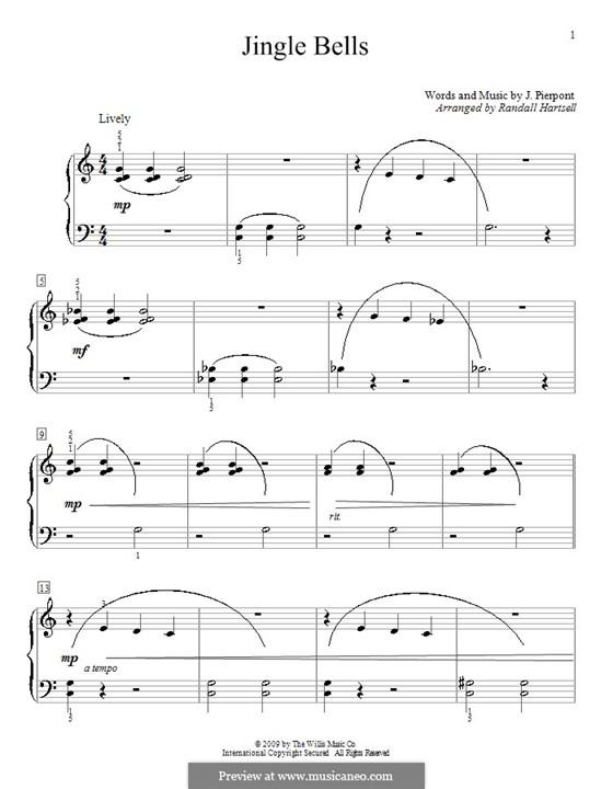 Jingle Bells, für Klavier: Arranged by Hartsell by James Lord Pierpont