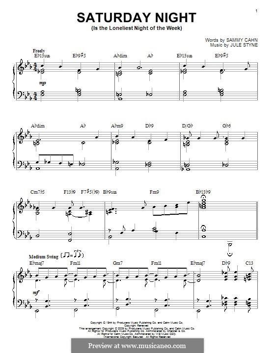 Saturday Night (Is the Loneliest Night of the Week): Für Klavier (Frank Sinatra) by Jule Styne
