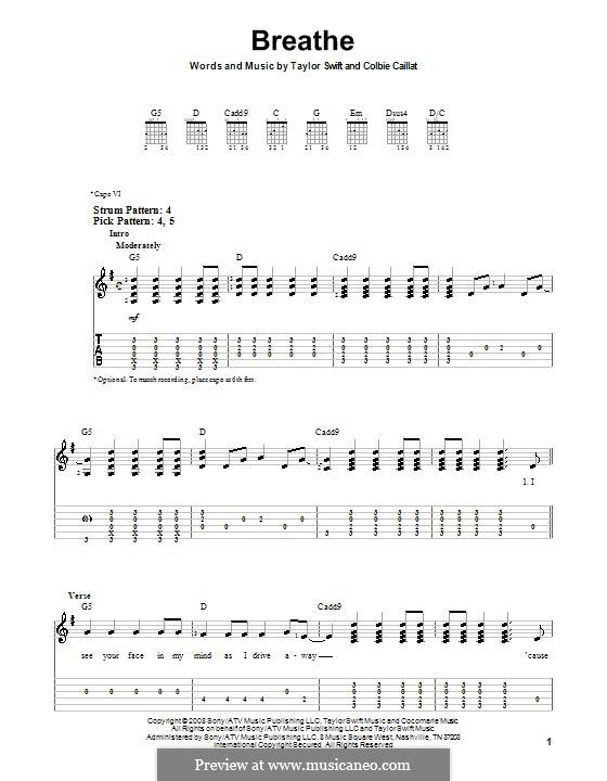 Breathe: Für Gitarre (Sehr leichte Fassung) by Taylor Swift