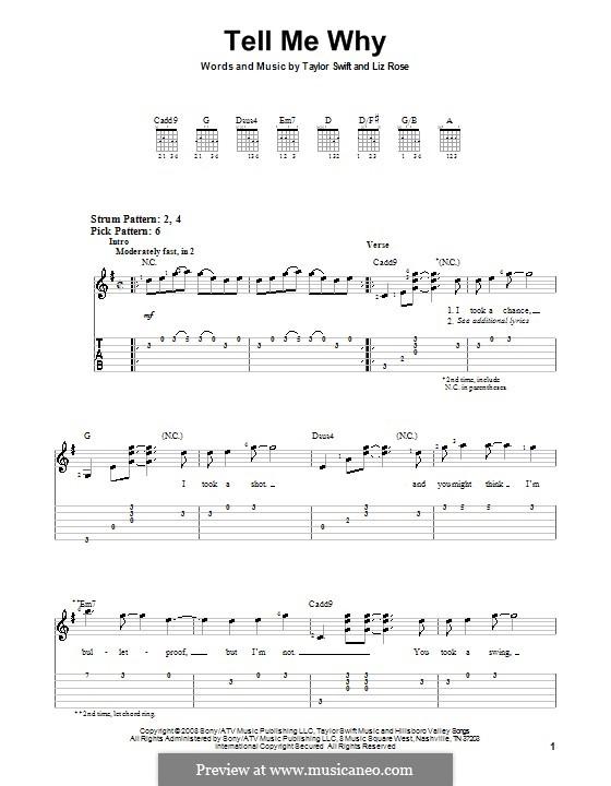 Tell Me Why (Taylor Swift): Für Gitarre (Sehr leichte Fassung) by Liz Rose
