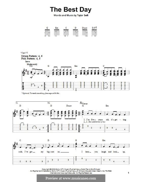 The Best Day: Für Gitarre (Sehr leichte Fassung) by Taylor Swift