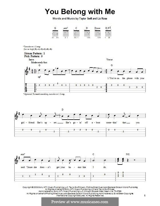 You Belong with Me (Taylor Swift): Für Gitarre (Sehr leichte Fassung) by Liz Rose