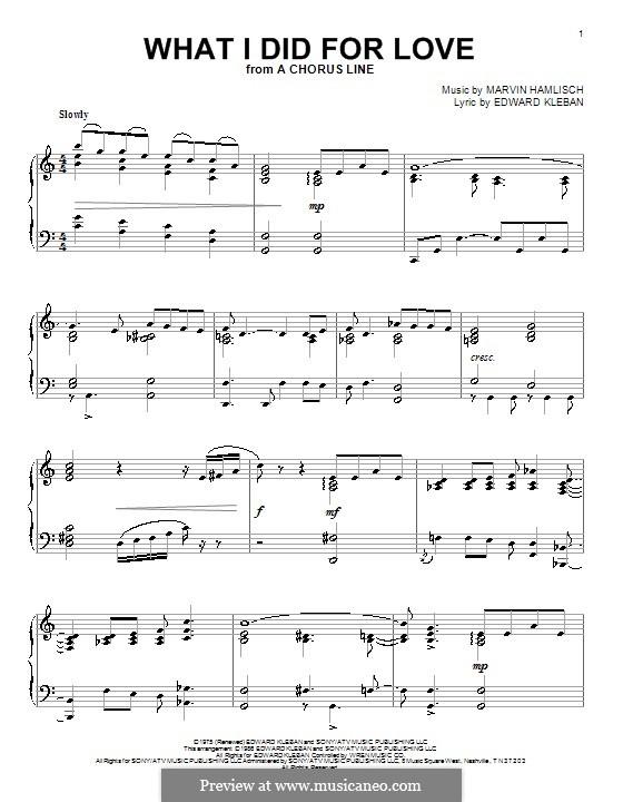 What I Did for Love (Priscilla Lopez): Für Klavier by Marvin Hamlisch